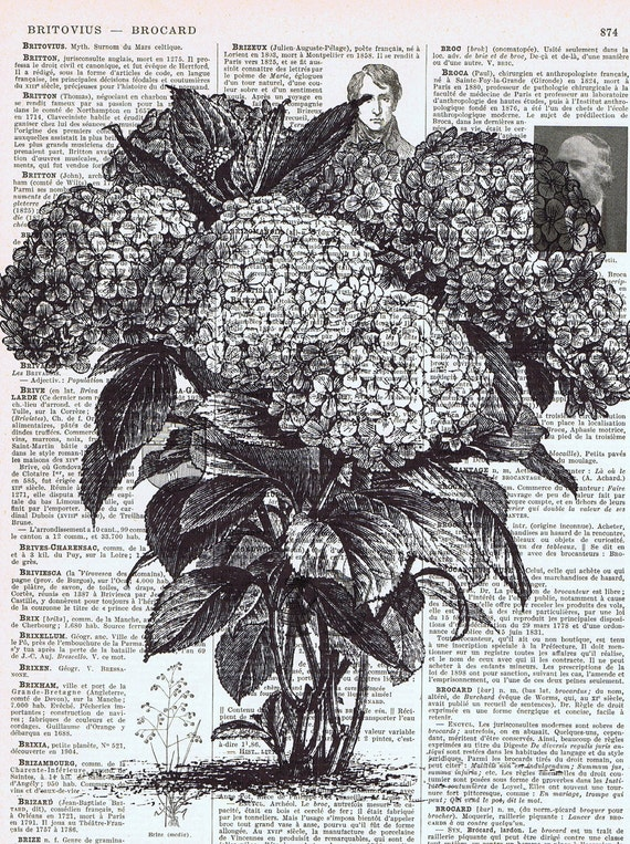 Floral, Altered Vintage Book Page Prints, French, Parisian, Flower  Bouquet Hydrangea Shrub / HomeDecor/ birthday gift idea, repurposed