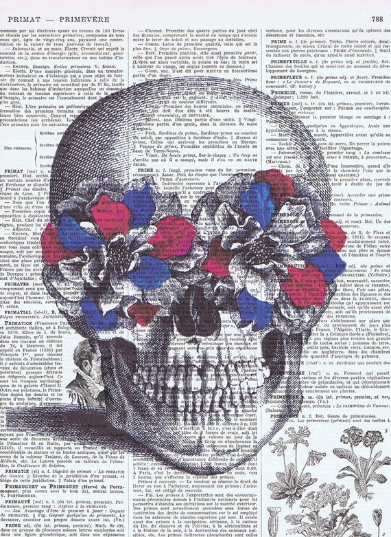 Birthday, OOAK, Gift , French, Red White and Blue, Vintage Skull, flowers,  Altered, Repurposed,  Antique Book Page, buy 3 get 1 free