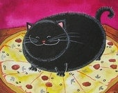 Bad Kitty Got to your Pizza First - MATTED Print