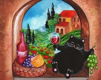 Picnic in Tuscany - Cat Travel Lover - Giclee Painting Print