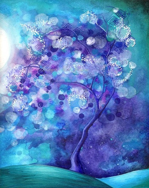 Tree of Light Giclee Fine Art Print - Magical tree of life, light, vivid colors, branches, weeping willow