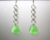 Rain chain, emerald green seaglass earrings