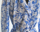 vintage blue flower printed day dress