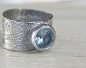 wide rustic silver ring paisley  Bohemian Gardens Ring