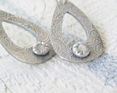 This Magic Moment....white sapphire silver hoop earrings...modern vintage silver