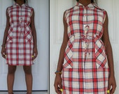 CLEARANCE/////PLAID Vintage 50s 60s School Girl Big Pocket Mini Shirt Dress S M