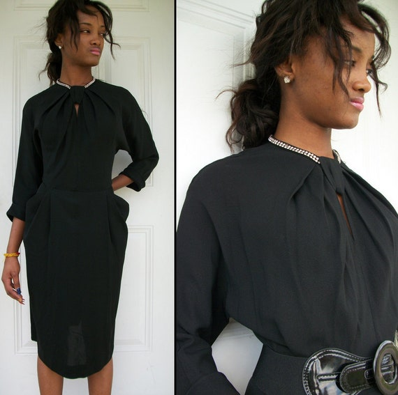 on hold for charleehorse vintage/////ELEGANT Vintage 40s Black Rhinestone Keyhole Opening Big Pocket Crepe Sheer Dress Sz L