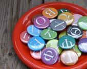Custom Listing 7 sets Gift Boxed Greek Alphabet Button Fridge Magnet Set with translation