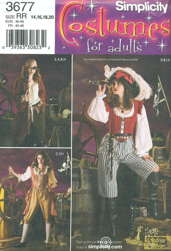 Simplicity 3677 PIRATE Costumes ANDREA SCHEWE -  Women's Sizes 14, 16, 18, 20