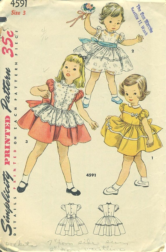 Simplicity 4591 Toddler Size 3 Party Dress with Scallops CIRCA 1954