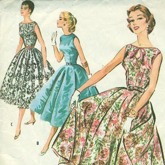 McCall's 3660 Rockabilly Party Dress with Full Circle Skirt, Vintage 1956