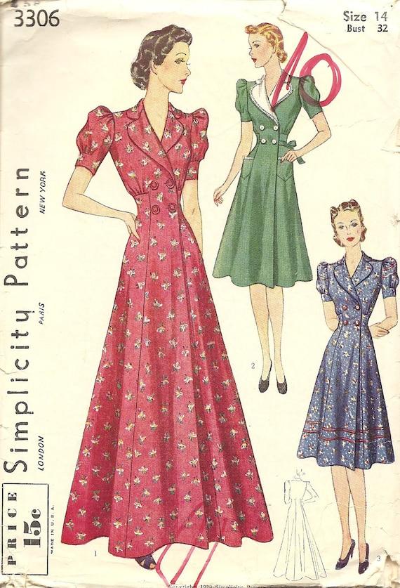Simplicity 3306 Housecoat or Dress circa 1939