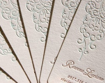 Letterpress Business Cards - Calling Cards - LETTERPRESS - Scrolled 2 color- 200 cards by Invited Ink