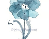 Indigo Blues Flower original watercolor painting 5x7 inches