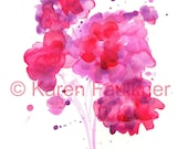 "Watercolor flowers art print, red and pink floral bouquet: ""Red Hot Summer Bouquet"""