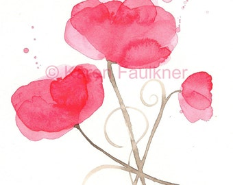"""Watercolor poppies, art print of red poppy flowers: """"Poppy Party"""""""