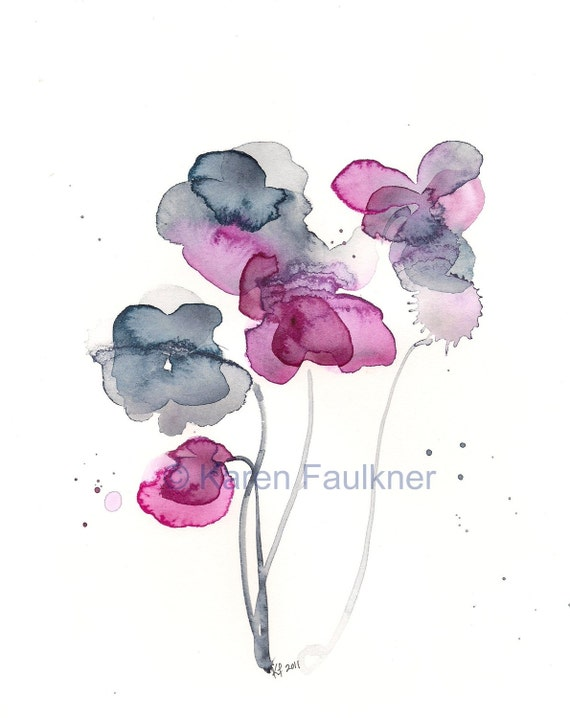 """Indigo and magenta watercolor flowers print: """"Frozen in Time"""""""