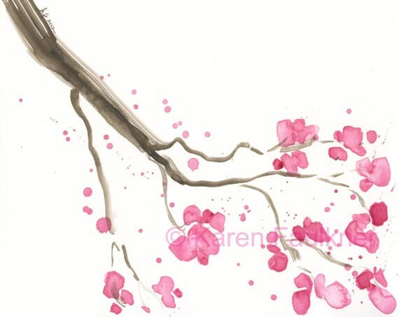 Cherry Blossoms watercolor painting 10x8 inches