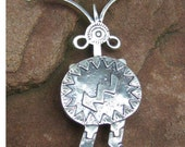 Sterling Silver Antenna Being Petroglyph Pin