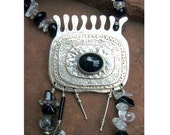 Handmade Sterling Silver Pendant w/Beaded Chain - Onyx cabachon