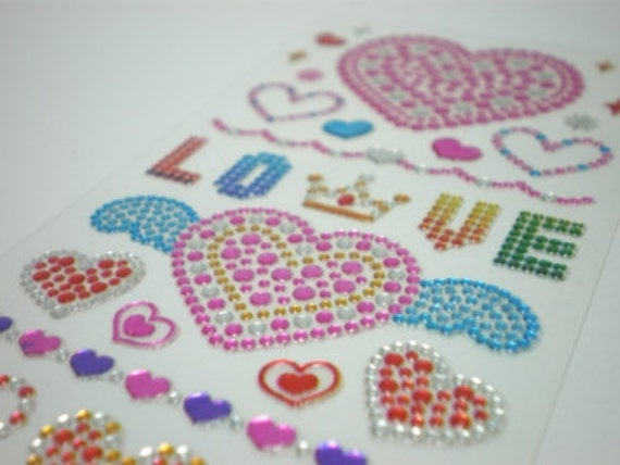 Gorgeous Korean Crystal Stickers - Shining Jewel Seals - Love (184)
