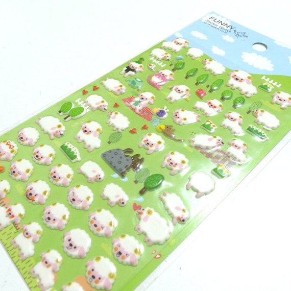 Cute Puffy Japanese Stickers - Animal Face Series - Baa Baa White Sheep (1177)