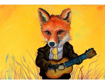 Fox Playing Guitar - Reproduction by Mr. Hooper of Nashville, Tennessee