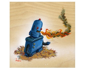 Retro Robot Breathing Fire - Limited Edition Art Print - Mr. Hooper Art
