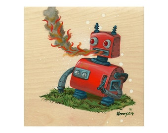 Retro Robot Breathing Fire - Limited Edition Art Print - Mr. Hooper Art - On Sale