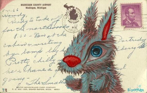 Original Mr. Hooper Art - Bunny on a Vintage Postcard