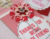 Set of 3 Valentine's Day Tag Card with an upcycled paperclip bookmark Personalization possible Very Pretty Pink and Red