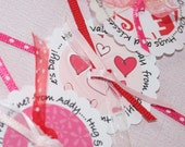 Set of 12 Personalized Valentine Day Tags for Candy.  Pink and Red  Pretty for Party Favor Bags or a Simple Candy Stick.