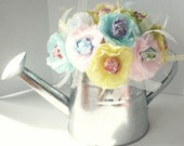 Tissue Paper Flowers Suckers Lollipops Sring Summer colors Garden Watering Can Centerpiece or Gift for Birthday or Baby Shower