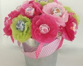 spring summer Tissue Paper Flowers Personalized Party Favor Lollipop Sucker Flower honeysuckle hot pink light pink and lime green Preppy