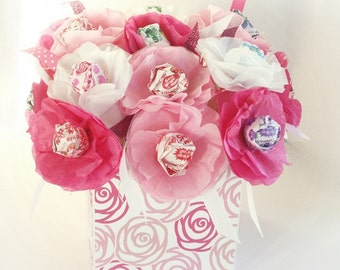 Tissue Paper Flowers sucker lollipop Valentines Day, Mother's Day Birthday Wedding Baby Shower Get Well. Can be personalized. Bright Pink Wh
