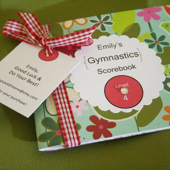 Gymnastics Score Book Scorebook for a Lucky Gymnast. Personalized---Pretty.