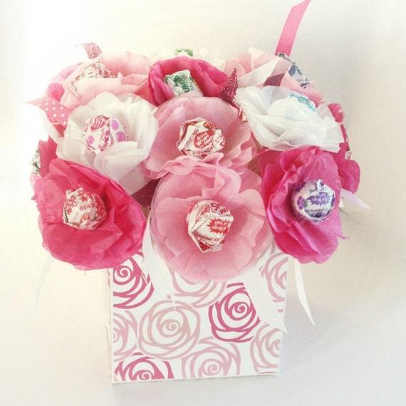 15 Tissue Paper Flowers Sucker Lollipop Valentine S Day