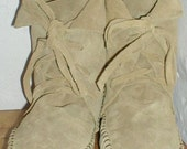 """RESERVED FOR EDWARD Earthgarden Handmade lace up Moccasins ankle boots tan suede 5"""" high"""