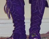 Flower Fairy Princess Elf Boots/Handmade Moccasins Dark purple Order your size