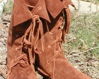 """ELF BOOTS/Handmade lace up Moccasin boots mid calf 11"""" high custom orders, sizes,&colors great for weddings,renfaire,hula,costumes,dance etc"""