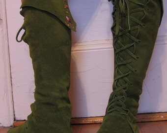 Fairy Princess ELF BOOTS pointy toe knee high moss green with flowers on back Order your size