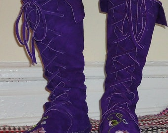 Earthgarden Flower Fairy Princess lace up Elf Boots/Handmade Moccasins Dark purple w/rubber soles and more colors