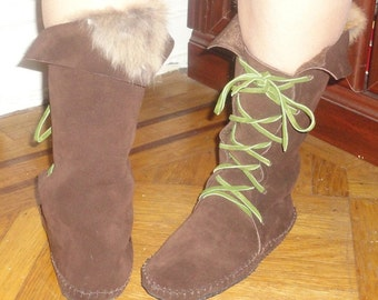 Winter Forest Elf Boots Handmade moccasins order your size fleece lined w/rubber soles