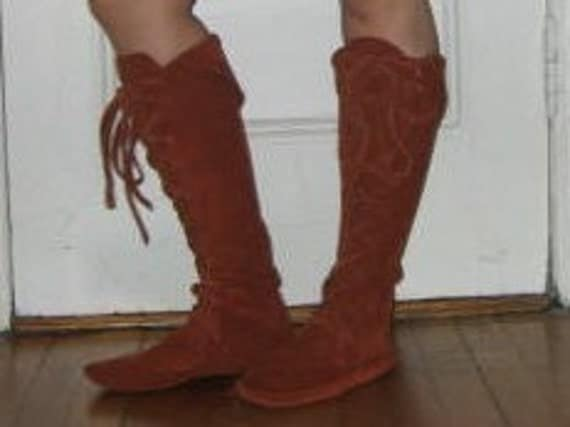 ELFBOOTS/Handmade Moccasins Rust sz6 Knee high READY to SHIP