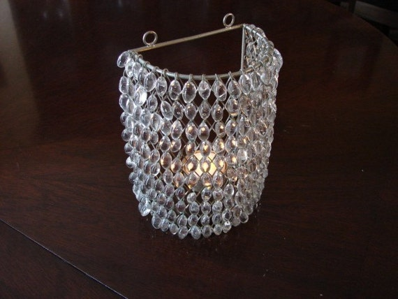 Czech Crystal Wall Lights : Vintage Czech Crystal Beaded Wall Sconce