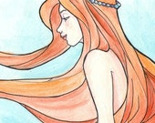 Mermaid Dreaming Signed Matte Small Print (Item 03-070-AA)