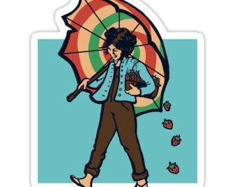 Individual Die Cut Strawberry Girl sticker (Item 01-044)