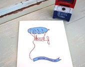 Balloon Man (Blue) - Letterpress Recycled Card