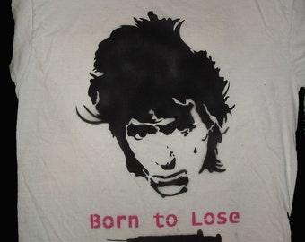 Johnny Thunders spray painted shirt