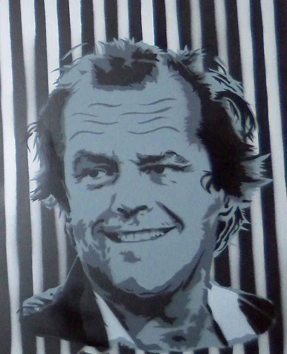 Jack Nicholson spray painting on wood